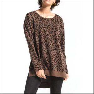 Z Supply Leopard Weekender Pullover Size XL